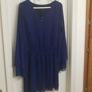 Blue shear sleeve dress
